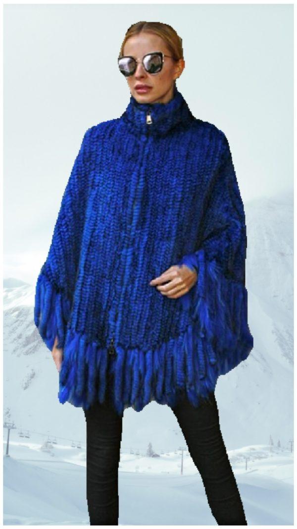 royal blue knit mink fur poncho