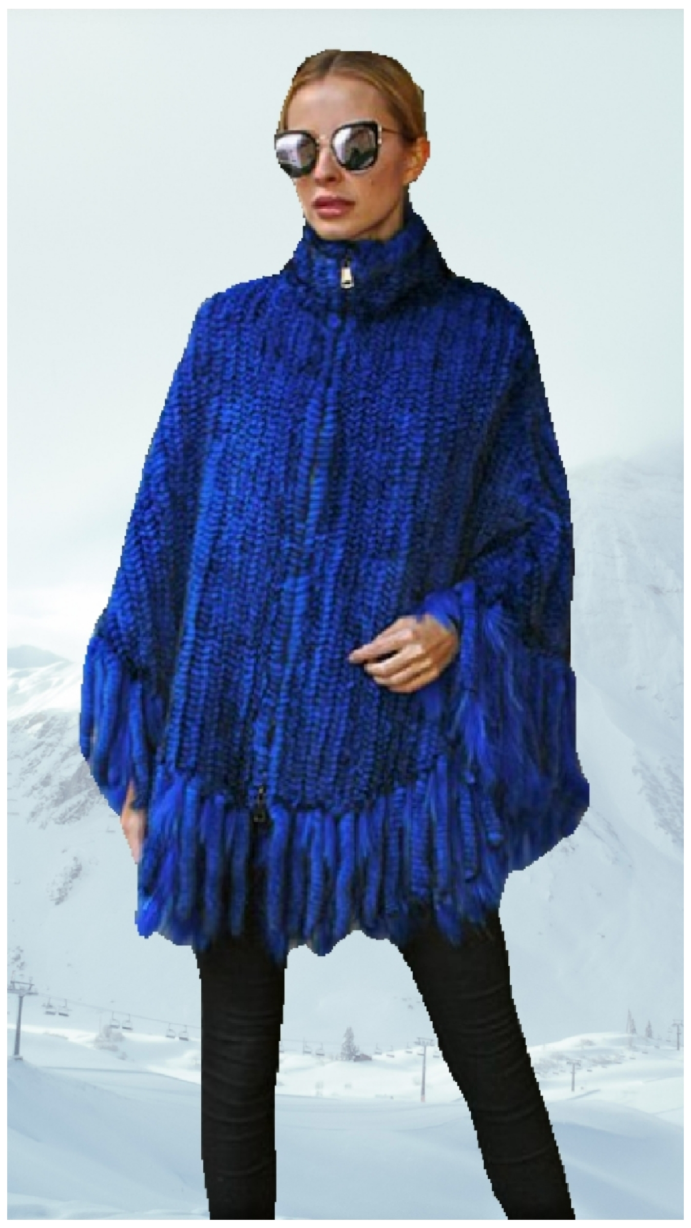 royal blue knit mink fur poncho