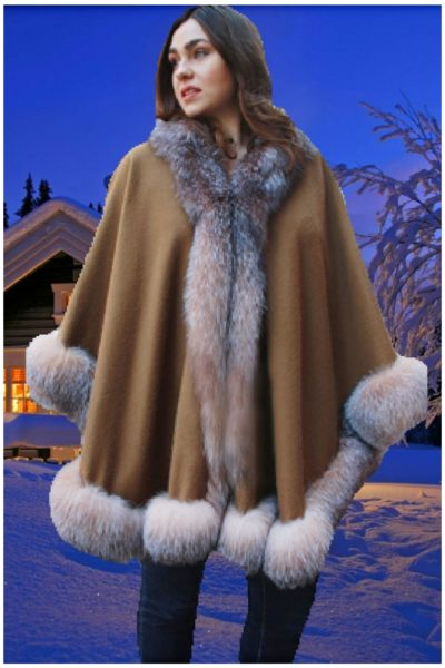 brown cashmere cape crystal fox fur trim