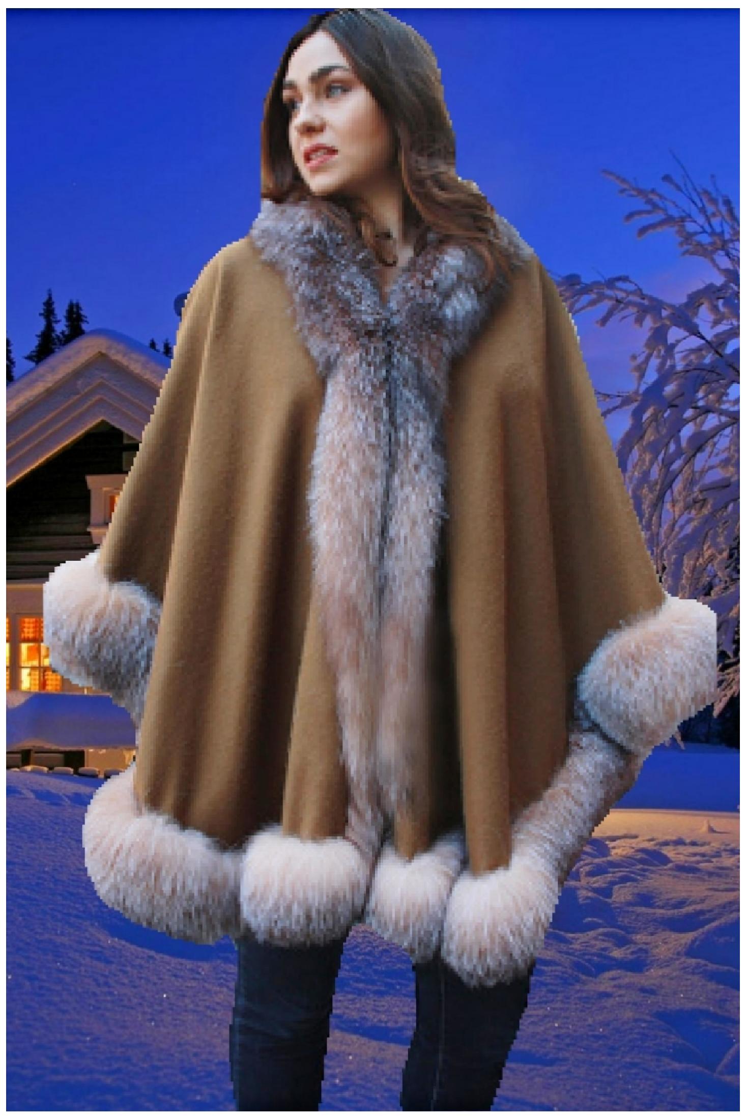 brown cashmere cape crystal fox fur trim