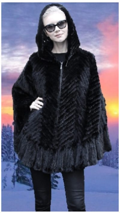 black knit mink fur poncho hood