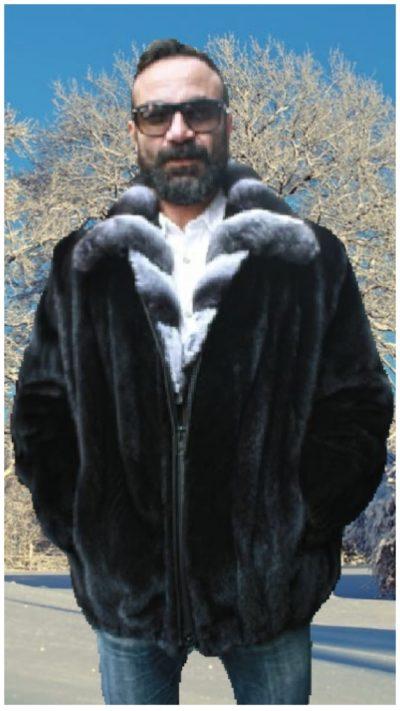 mens blackglama mink bomber jacket chinchilla collar