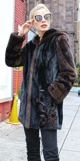Ranch Demi Mink Fur Floral Jacket