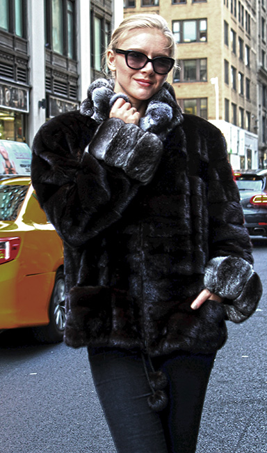Ranch Mink Fur Jacket with Chinchilla Fur Collar and Cuffs