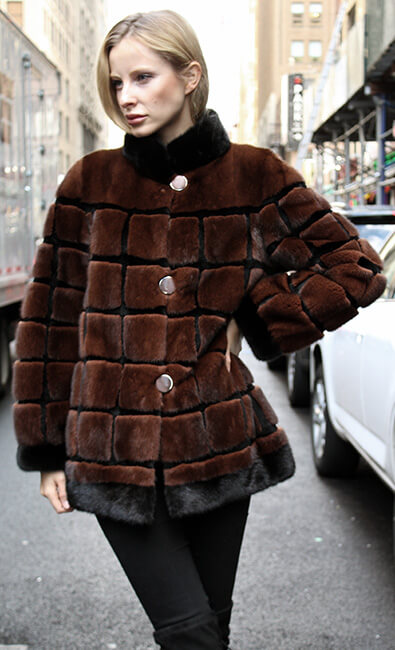 Rusty Brown Sheared Mink Fur Jacket with Black Mink Fur Inserts