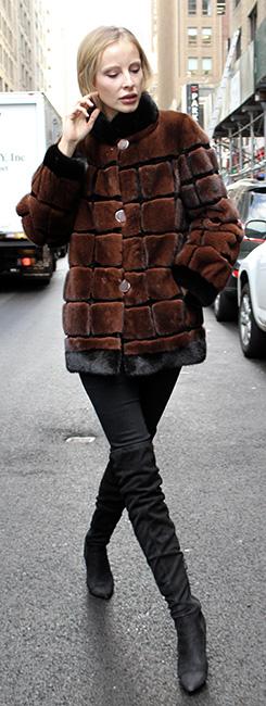 Rusty Brown Sheared Mink Fur Jacket with Black Mink Fur Inserts