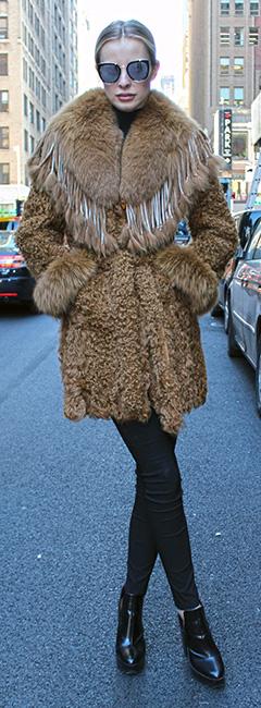 Whiskey Lamb Fox Fur Jacket