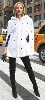 White Mink Fur Cape with Hood Black Mink Fur Inserts