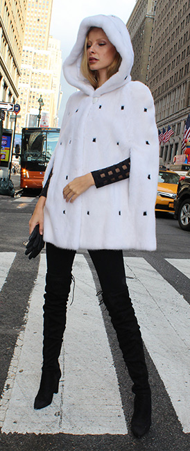 White Mink Fur Cape with Hood Black Mink Fur Inserts
