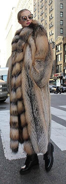 Full Length Cross Fox Fur Coat Tuxedo Cross Fox Fur