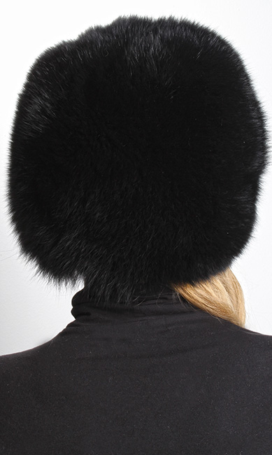 Black Fox Fur Bubble Hat