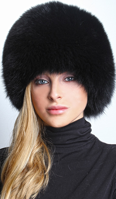Black Fox Fur Bubble Hat