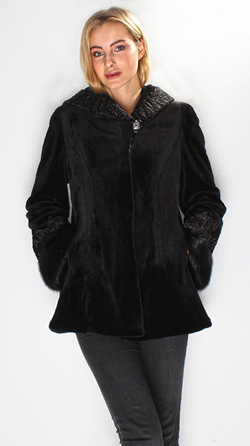 Black Mink Fur Jacket Swakara Fur Trim Collar Cuffs with Hood