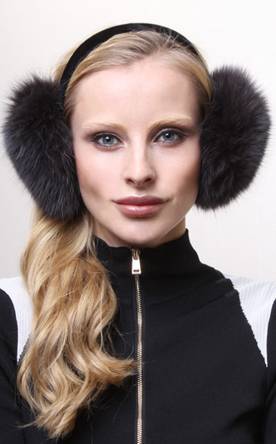 Blue Print Blue Fox Fur Ear Muffs
