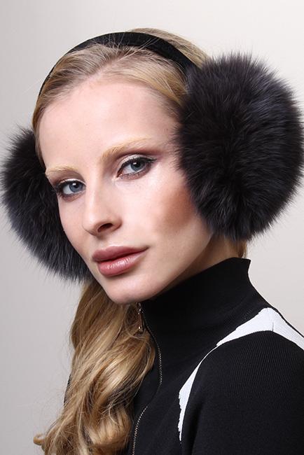 Blue Print Blue Fox Fur Ear Muffs