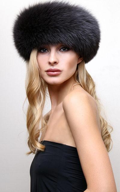 Blue Print Blue Fox Fur Headband