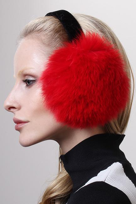 Bright Red Fox Fur Ear Muffs