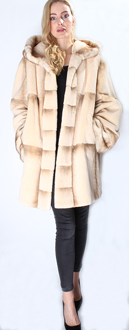 Camel Colored Rex Rabbit Fur Jacket Hood