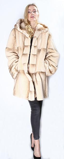 Camel Colored Rex Rabbit Fur Jacket Hood