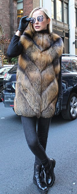 Cross Fox Fur Vest Hood