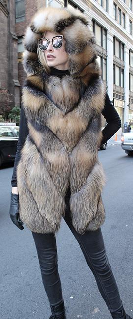 Cross Fox Fur Vest Hood