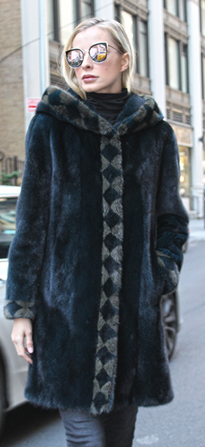 Dark Aqua Blue Mink Fur Stroller with Hood