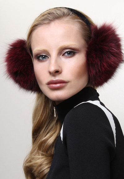 Dark Red Fox Fur Ear Muffs