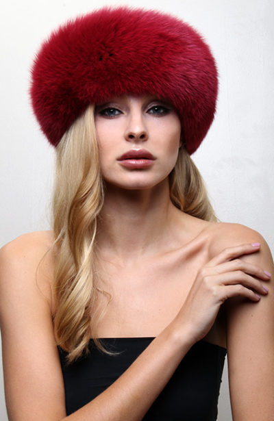 Dark Red Fox Fur Headband