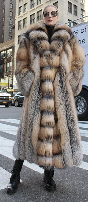 Full Length Cross Fox Fur Coat Tuxedo Cross Fox Fur