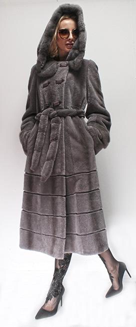 Full Length Gray Rex Rabbit Fur Coat Hood