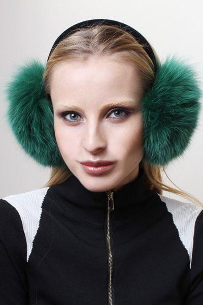 Green Fox Fur Ear Muffs