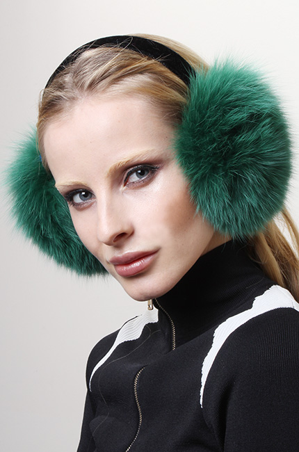 Green Fox Fur Ear Muffs