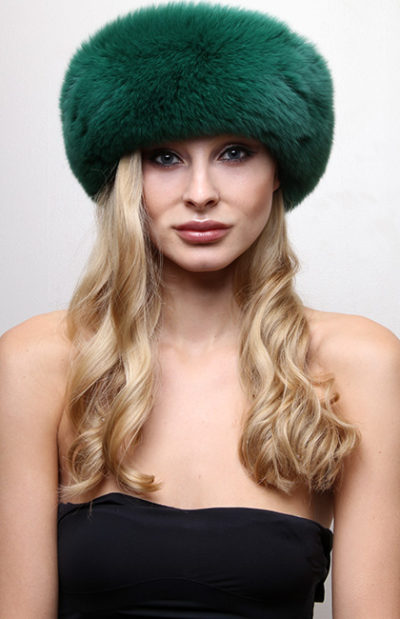 Green Fox Fur Headband