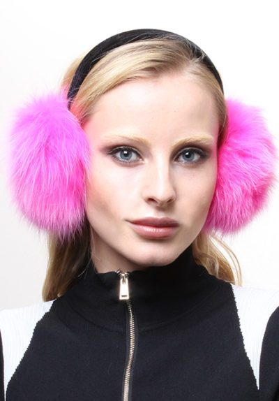 Hot Pink Fox Fur Ear Muffs