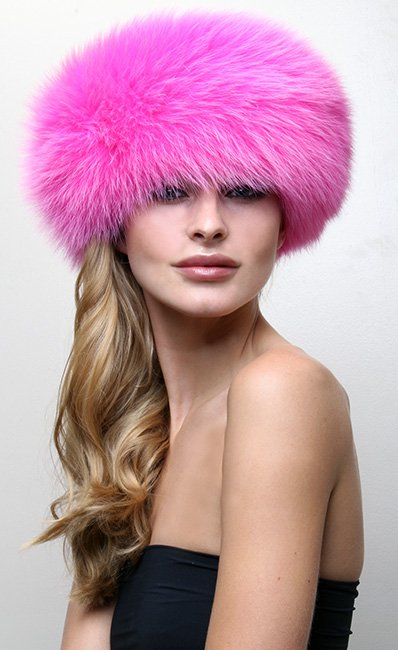 Hot Pink Fox Fur Headband