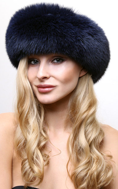 Navy Blue Fox Fur Headband