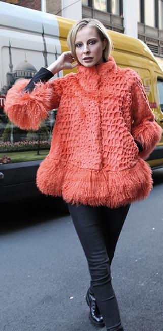 Orange Rabbit Fur Jacket Tibetan Lamb Cuffs and Border