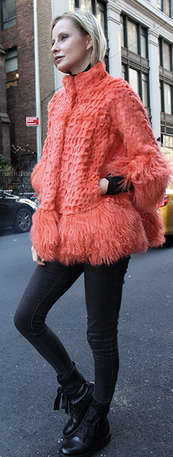 Orange Rabbit Fur Jacket Tibetan Lamb Cuffs and Border
