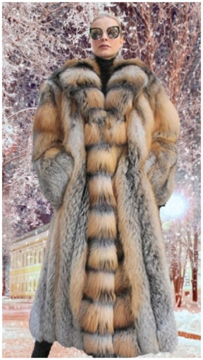 3ae836c29 Full Length Cross Fox Fur Coat Tuxedo Cross Fox Fur 4215
