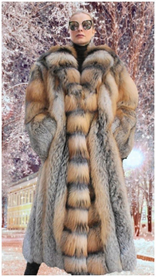 full length fox fur coat