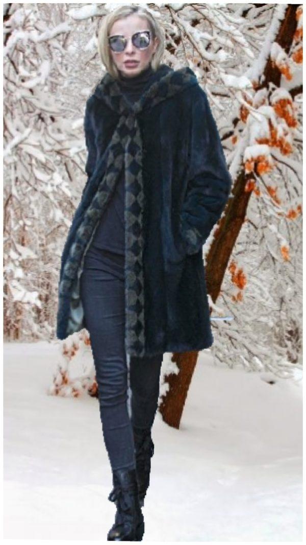 dark acqua blue mink fur stroller hood