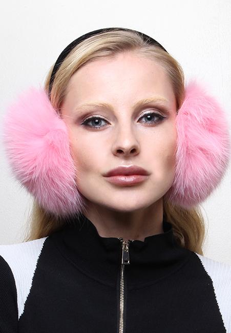 Pink Fox Fur Ear Muffs