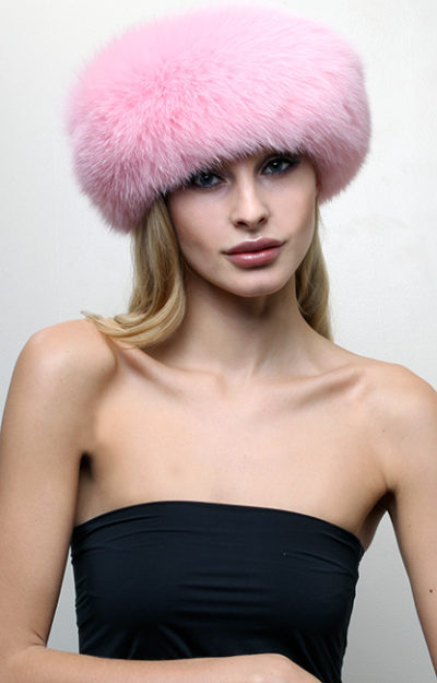 Pink Fox Fur Headband
