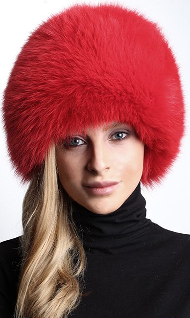 Red Fox Fur Bubble Hat