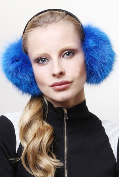 Royal Blue Fox Fur Ear Muffs