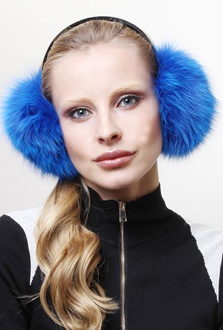 Royal Blue Fox Fur Ear Muffs
