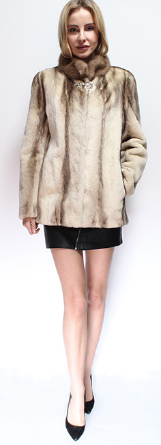 Sheared Camel Colored Mink Fur Jacket Sable Collar