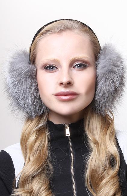 Silver Fox Fur Ear Muffs