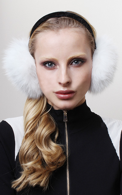 Black Fox Fur Ear Muffs