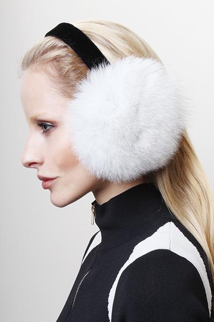 White Fox Fur Ear Muffs